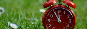 Red alarm clock with grass background
