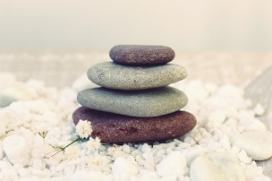 Stack of four massage stones